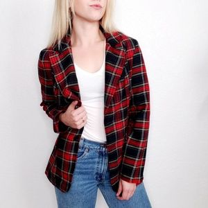 Vintage Plaid Striped Boxy Schoolboy Blazer 342